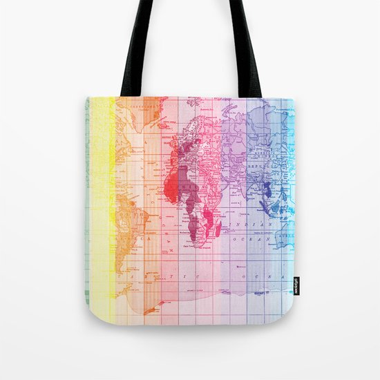 Rainbow World Map Tote Bag