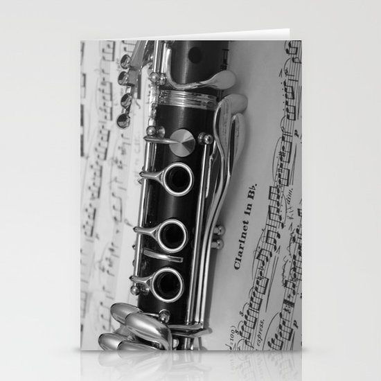 B Flat Clarinet in Black & White Stationery Cards