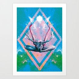 Yoga au Cerf Art Print