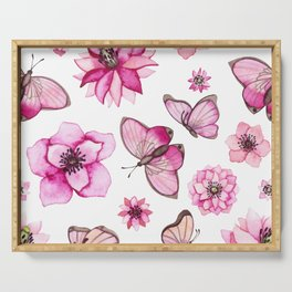 Pretty Pink Flowers & Butterfly's Serving Tray