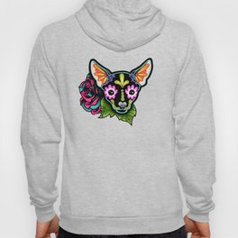 Chihuahua in Black - Day of the Dead Sugar Skull Dog Hoody