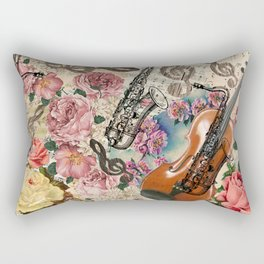 Vintage pink bohemian roses classical notes musical instruments Rectangular Pillow