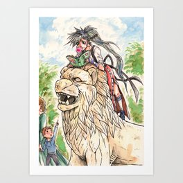 Lion girl Art Print