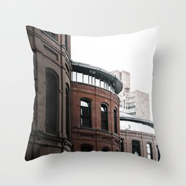 BROWN CONCRETE BUILDING IN THE MORNING-7 Throw Pillow
