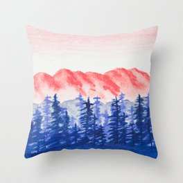 Navy and Coral Mountains Throw Pillow