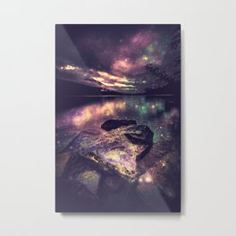 Magical Mountain Lake : Eggplant Teal Metal Print