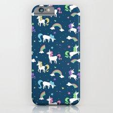 Unicorns and Rainbows - teal -tiny Slim Case iPhone 6