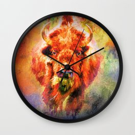 Jazzy Buffalo Colorful Animal Art by Jai Johnson Wall Clock