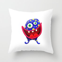 Big Mouthed Germ Throw Pillow
