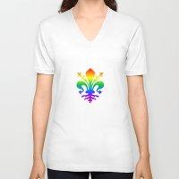 fleur de lis V-neck T-shirts featuring Rainbow Fleur-de-Lis by Cool Prints