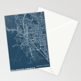 Colorado Springs Blueprint Street Map, Colorado Springs Colour Map Prints Stationery Cards