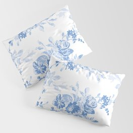 Modern navy blue white watercolor elegant floral Pillow Sham