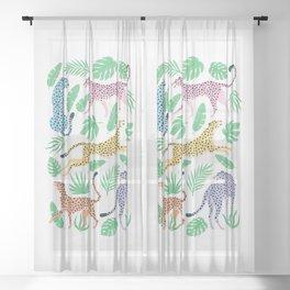 The Stare: Pastel Rainbow Cheetah Edition Sheer Curtain