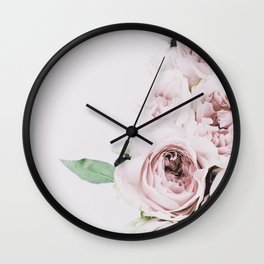 Flowers, Roses, Leaves, Plant, Green, Scandinavian, Minimal, Modern, Wall art Wall Clock