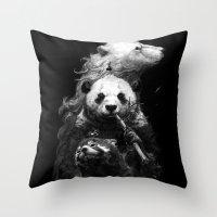 bears Throw Pillows featuring bears by kian02