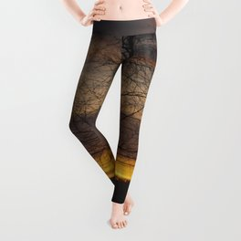 Sunset at the end of town Leggings