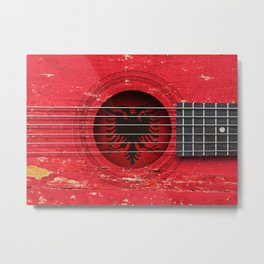 Old Vintage Acoustic Guitar with Albanian Flag Metal Print