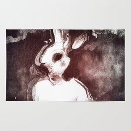 """""""The Rabbit Stared at Alice"""" By Nacho Dung. Rug"""