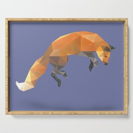 Low Poly Flying Red Fox Serving Tray