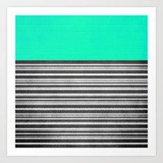 Mint Gray Stripes Art Print
