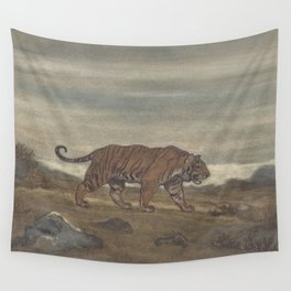 Vintage Illustration of a Striped Tiger (1875) Wall Tapestry