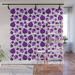 Cute Purple Ladybugs Wall Mural