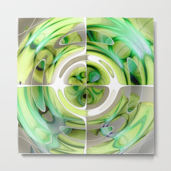 Lime and Green Abstract Collage Metal Print