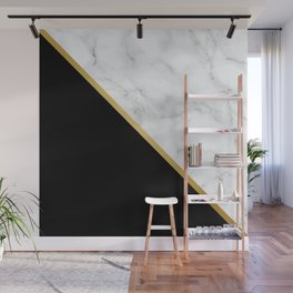 Marble, Black, White, Gold, Abstract Color Block Wall Mural