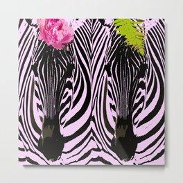 Always together - Two Zebras - illustration - fun #decor #society6 #buyart Metal Print