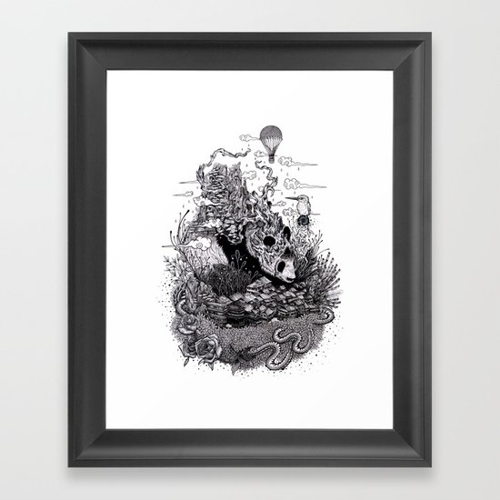 Land of the Sleeping Giant (ink drawing) Framed Art Print