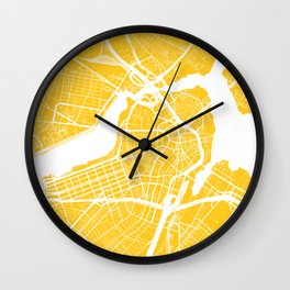 Yellow City Map of Boston, Massachusetts Wall Clock