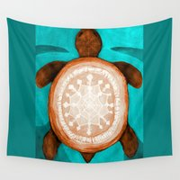 snowflake Wall Tapestries featuring Snowflake turtle by ArtLovePassion