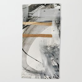 Armor [7]: a bold minimal abstract mixed media piece in gold, black and white Beach Towel