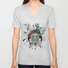 Green Gas Mask with Roses Unisex V-Neck