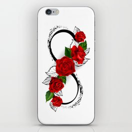 Infinity Symbol with Red Roses iPhone Skin