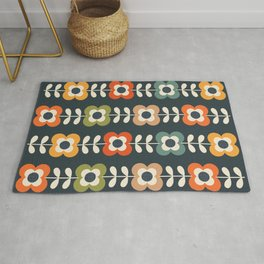 MOD FLOWERS in RETRO COLORS on CHARCOAL Rug