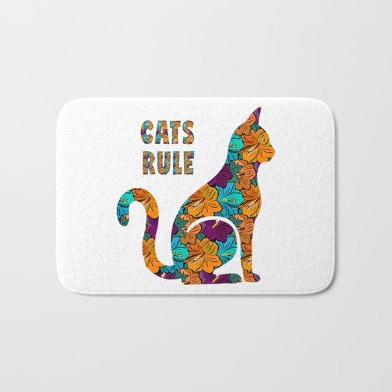 Cats Rule Silhouette With Hibiscus Flowers Bath Mat