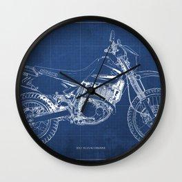 2012 Suzuki DR650SE, motorcycle blueprint, gift for biker Wall Clock