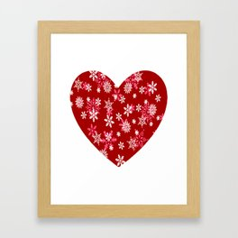 Red Heart Of Snowflakes Loving Winter and Snow Framed Art Print