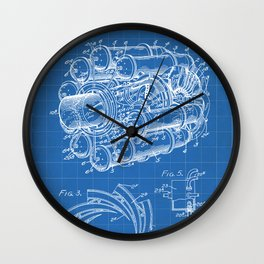Airplane Jet Engine Patent - Airline Engine Art - Blueprint Wall Clock