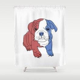 English Bulldog Puppy (red/white/blue) Shower Curtain