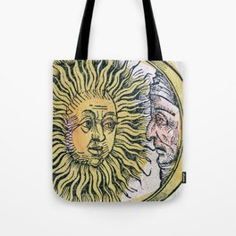 Sun and Moon Faces Tote Bag