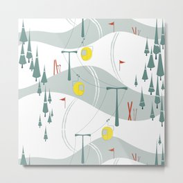 Retro Ski Metal Print