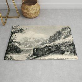 Antique train rack railway near Mont Blanc French Alps Rug