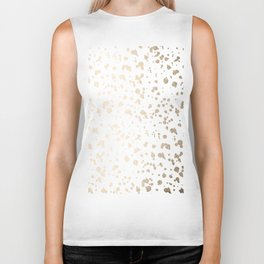 Luxe Gold Painted Dots on White Biker Tank