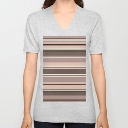 Mixed Striped Design Browns Taupe Creams Unisex V-Neck