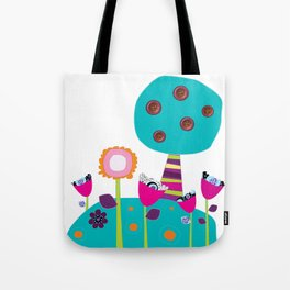 Buttons tree and colourful flowers Tote Bag
