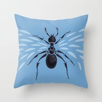 Weird Abstract Flying Ant Throw Pillow