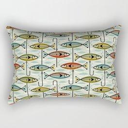 Vintage Color Block Fish Rectangular Pillow