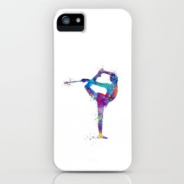 Rhythmic Gymnastics Girl Clubs Gymnastic Clubs Gift Colorful Watercolor Art Flexible Girls iPhone Case